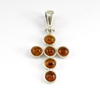 amber cross pendant #5