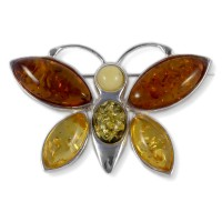 Amber and silver brooch